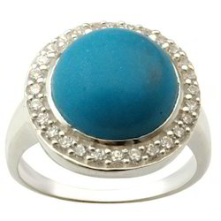 925 Sterling Silver Turquoise Wedding Rings