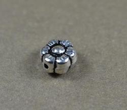 Round Shiny Sterling Silver Flower Spacer Bead