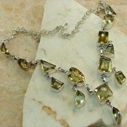 Lemon Quartz Silver Necklace