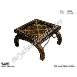 Wooden Table With Brass, Iron Work