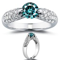 Solitaire Blue Diamond Engagement Ring