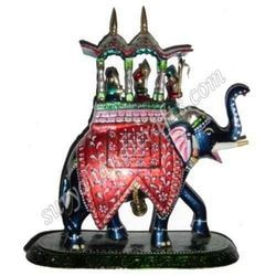 Metal Meenakari Painted Elephant Ambabadi With Lacker On It