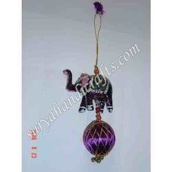 Meena Elephant Beads And Ball Hanging With Lacker On It