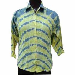 Yellow & Blue 3/4th Sleeve Cotton Tie Dye Shirt