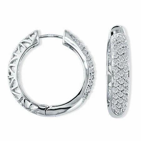 14 Carat Diamond 14k White Gold Hoop Earrings