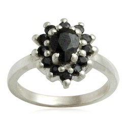 Black Sapphire and Black Onyx Silver Ring