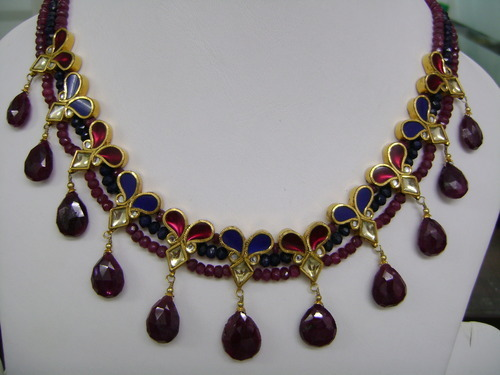 Ruby Blue Sapphire 22k Gold Kundan Necklace Set Swarn Jewels New