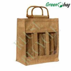 Brown Green Bag Jute Three Bottle Bags