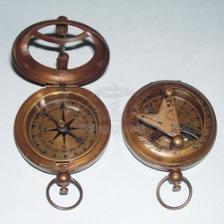 Push Button Pocket Sundial Compass