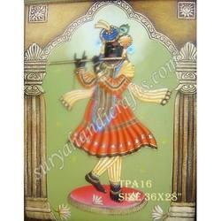 Modern Art Rot Iron Painted Wall Hanging With Krishna