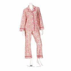 Cotton Printed Full Sleeve Ladies Night Suit