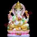 Colorful Ganesha Marble Statue