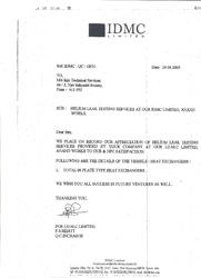 Certificate by IDMC