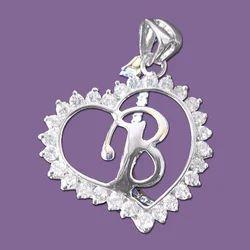 925 Silver Heart Shaped Alphabet Pendants