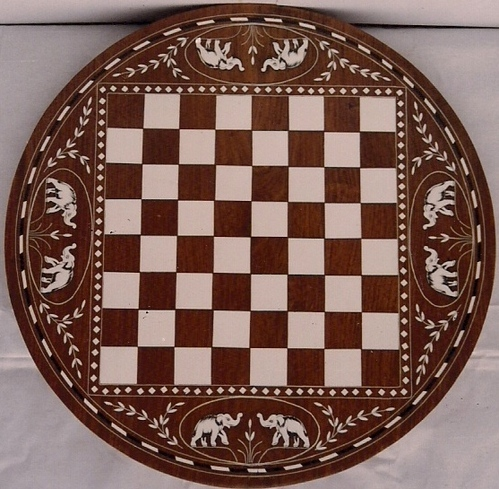 Round Chess Table With Elephant Design