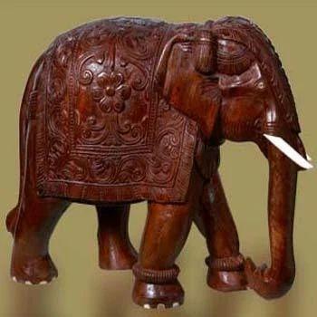 Wooden Elephant Lakdi Ka Haathi Wood Carved Elephant Wooden
