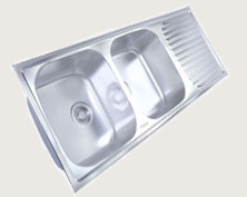 Drain Board Double Bowl Kitchen Sink