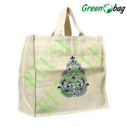 Printed Green Bag White Cotton Canvas Bags