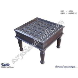 Wooden Table Iron Flower