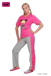 Pink And Grey Cotton Ladies Pajamas, Size: Small And Medium