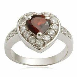 Garnet Heart Silver Ring