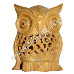 Wooden Owl With Carving