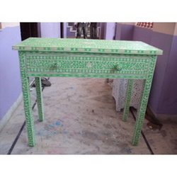 Decorated Green Office Table