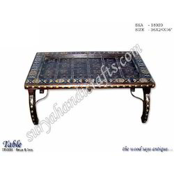 Wooden Table With Brass Iron Work