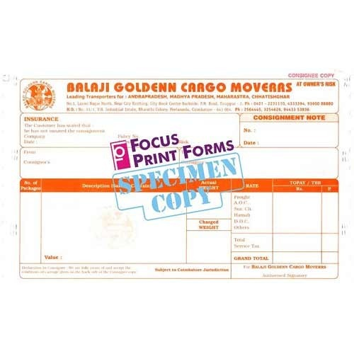 Printing Stationery - Consignment Notes Manufacturer From Coimbatore