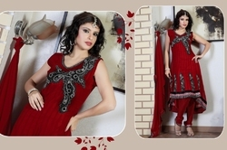 Scintillating Brick Red Salwar Kameez