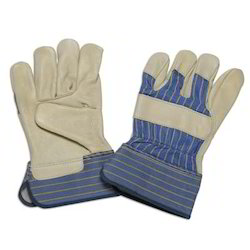 Beige Grain Leather Palm Gloves