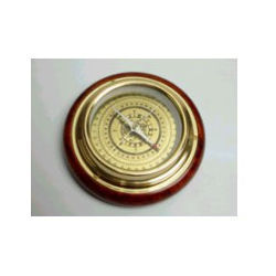 Round Compass With Wooden Base
