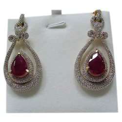 Diamond Studded Ruby Earrings