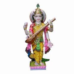 Marble Colored Saraswati Devi Statue