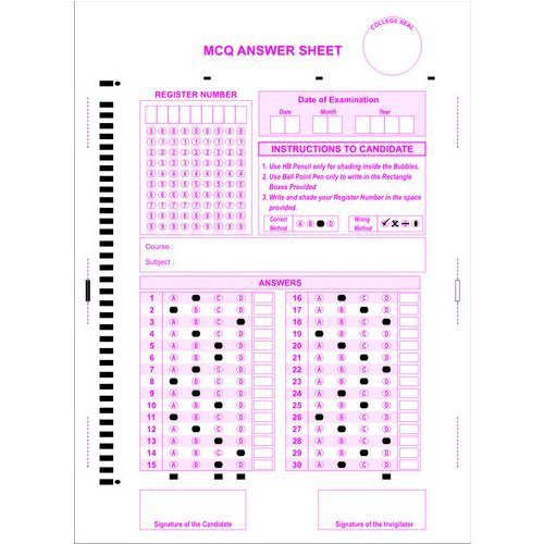 SNT Formss OMR MCQ Answer Sheets, For Exams | ID: 2715134712