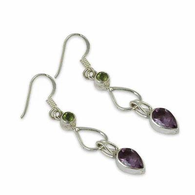Art Palace 925 Sterling Silver Amethyst And Peridot Gemstone Earring