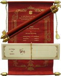 custom printed scroll invitations for wedding at rs 67 piece