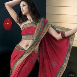 Elegant Red Designer Saree