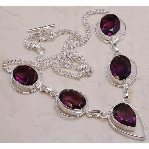 Ruby Stone Necklace Metal Jewellery Mansarovar Jaipur Craft