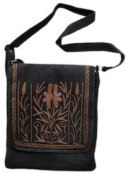 Suede Embroidered Flap Bag