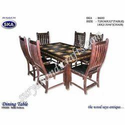Wooden Brass Emboss Chair Set