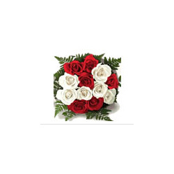 Red and White Roses Hand Bunch Bouquet