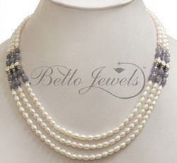 Handmade Pearl & Tanzanite Beaded Necklace Paypal