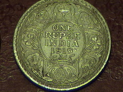 British India Silver Coin Of One Rupee Year 1919