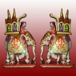 Enamel Work Decorative Elephant Pair