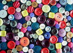 Round Colored Polyester Button, For Garments, Packaging Type: Box
