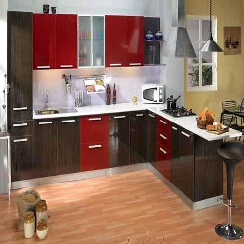 Godrej Modular Kitchen With Marine Ply Shutter The Sanrachana