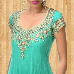 Neck Embroidered Anarkali Suit Sarees Lehenga And Salwar Suits
