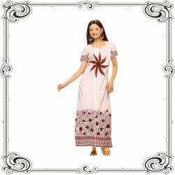 Full Length Cotton Designer Nighties, Free Size