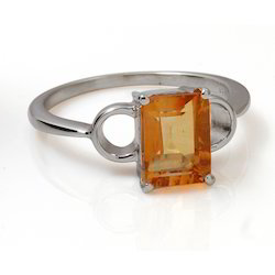 Yellow Stone Silver Ring